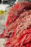 Red fishing net in Bosa, Sardinia Stock Photography