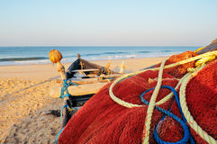 Red fishing net, Goa, India Royalty Free Stock Photos
