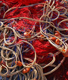 Red fishing nets Stock Images