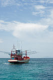 Red Fishing vessel moving at low speed. Andaman sea, Thailand Royalty Free Stock Photos