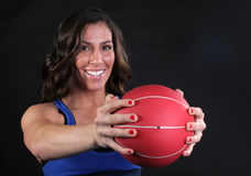 Red Fitness Ball Girl Royalty Free Stock Photo