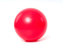 Red fitness ball on white background Stock Image