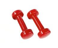 Red fitness dumbbells stock photo