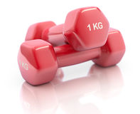 Red fitness dumbbells Stock Images