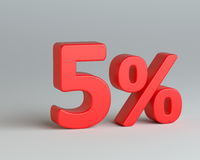 Red five number with percentage sign. Red five percent sign on gray background. Business concept. 3d rendering Stock Photography