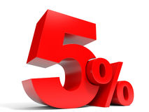 Red five percent off. Discount 5%. Stock Photography