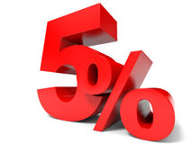 Red five percent off. Discount 5%. Royalty Free Stock Image