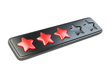 Red five star rating system. Stock Photo