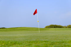 Red flag. A red flag on the green with a yellow ball Royalty Free Stock Images