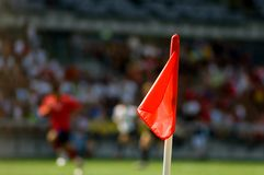Red flag. A red flag on the side of football field Stock Photo