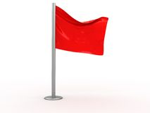 Red flag. 3d illustration of red flag isolated over white background Stock Photo