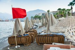 Red flag on the beach of Marmaris, Turkey. Closed in connection with bad weather the beach in Marmaris, 18 AUG, 2017 stock photography