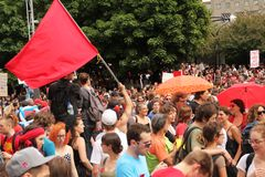 Red flag in a demonstration in Montreal street royalty free stock photos