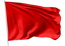 Red flag on flagpole Stock Photo