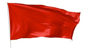 Red flag with flagpole waving in the wind stock footage