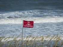 Red flag flapping in the breeze at the ocean Stock Photography