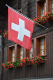 Red flag with geranium, andermatt Royalty Free Stock Images