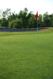 Red flag on the golf course. Red flag on the green of a golf course with sand trap in the background Royalty Free Stock Images