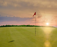 Red flag in a golf course Royalty Free Stock Photography