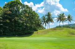 Red flag on green grass golf club Stock Image