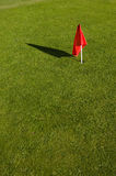 Red flag. On green grass of a pitch and putt course Royalty Free Stock Image