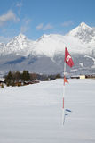 Red flag in hole at golf field. Red flag in hole at snow covered golf field Stock Photo