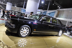 Red-Flag limousine. Chinese brand Red-Flag luxury limousine in its exhibition hall,in 2010 international Auto-show GuangZhou. it is from 20/12/2010 to 27/12/2010 Stock Photo