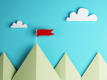 Red flag on mountain and clouds sky Royalty Free Stock Images