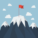 Red flag on a Mountain peak. Business success concept Royalty Free Stock Images