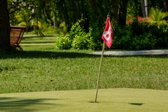 Red flag number 8 at the golf field. Near the hole Royalty Free Stock Photography