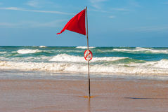 Red flag in ocean during Surf competition, Lacanau, France. Red flag in ocean, Lacanau, France stock images