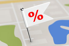 Red Flag with Percent Discount Sign on Map Background. 3d Render Stock Photos