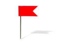 Red flag pin. With shadow Stock Images
