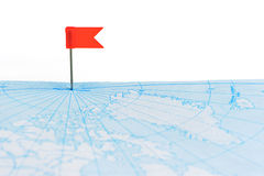 Red flag a pin on map Royalty Free Stock Photos