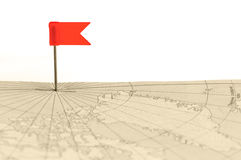 Red flag a pin on old map Royalty Free Stock Photos