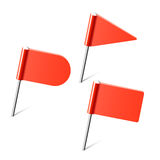 Red flag pins. Vector illustration of flag pins Stock Photos