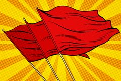 Red flag pop art background Royalty Free Stock Images