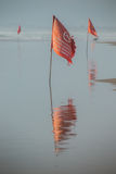 Red flag prohibits swimming Royalty Free Stock Photos