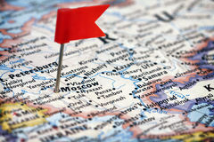 Red flag pushpin pointing Moscow Stock Photo