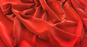 Red Flag Ruffled Beautifully Waving Macro Close-Up Shot 3D Rende. Ring Studio Royalty Free Stock Images