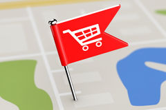 Red Flag with Shopping Cart Icon on Map Background. 3d Rendering Stock Photo