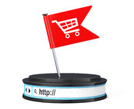 Red Flag with Shopping Cart Icon over Browser Address Bar as Rou. Nd Platform Pedestal on a white background. 3d Rendering Stock Image
