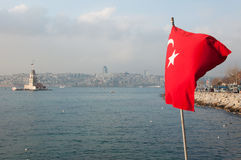 Red flag of Turkey Stock Photography