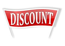 A red flag with the word discount Royalty Free Stock Images