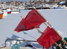 Red Flags. For marking fishnet marine in background Royalty Free Stock Images