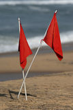 Red Flags. Warning flags on Varkala Beach, India Royalty Free Stock Photo