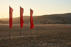 Red flags on the beach Stock Photos