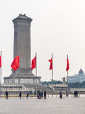 Red flags near Monument to the People`s Heroes Royalty Free Stock Image