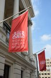 Red Flags of Royal Opera House Stock Images