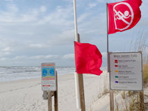 Red flags and signs signal Water closed to public Stock Photography